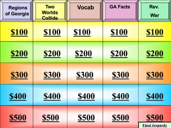 Georgia Studies:  Milestone Review Jeopardy Bundle - Includes Boards 1,2, & 3