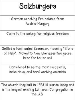Georgia Studies Sorting Activity - Colonial Georgia's Groups