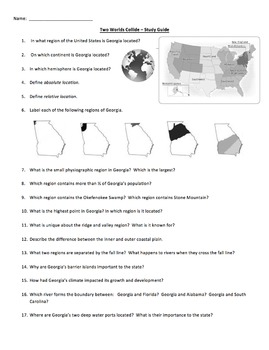 Georgia Studies: Two Worlds Collide Study Guide -Geography