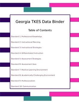 GA Teacher  Data Binder - Royalty