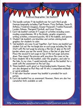 American Biographies Tab Booklet Bundle (People's Rights)