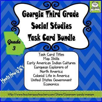 Georgia Third Grade Social Studies Task Card Bundle (Meets New GSE's)