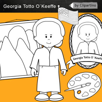 Georgia Totto O`Keeffe clipart BW - Artists Clip Art