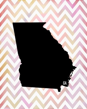 FREEBIE! Georgia Chevron State Map Class Decor, Government, Geography