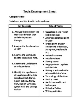Georgia and the Revolutionary War Choice Board
