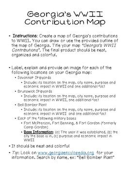 Georgia's Contributions to WWII Annotated Map (SS8H9B)