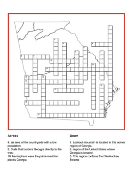 Georgia's Geography Crossword Puzzle  - SS8G1