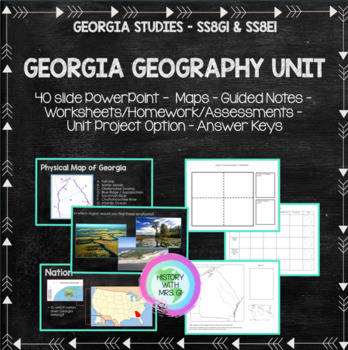 Georgia's Geography - SS8G1 PowerPoint and Notes Set