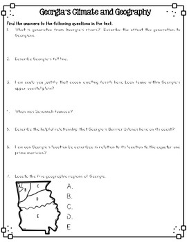 Georgia's Geography and Climate Reading Passages for SS Integration