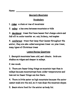 Georgia's Mountains Study Guide 3rd Grade Science