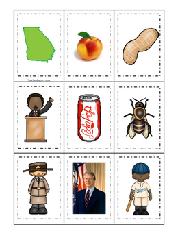 Georgia themed Memory Matching and Word Matching preschool curriculum game.