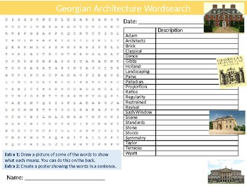 Georgian Architecture Wordsearch Sheet Starter Activity Keywords Design Style