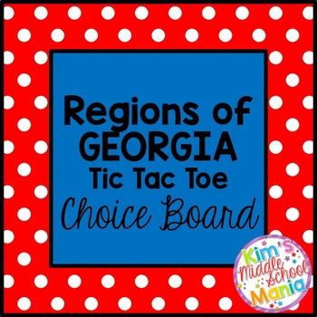 Georgia Studies-Regions of Georgia Tic-Tac-Toe Choice Board