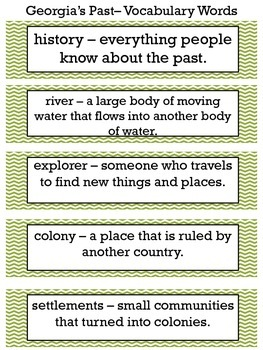 Georgia's Past Vocabulary Words