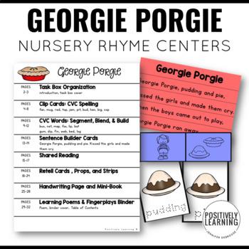 Georgie Porgie Nursery Rhyme Literacy Tasks