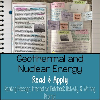 Geothermal and Nuclear Energy Reading Comprehension Interactive Notebook