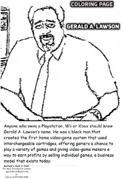 Gerald A. Lawson (Inventor of the first Video-Game System) Coloring Sheet
