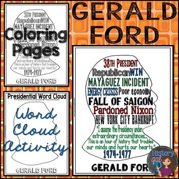 Gerald Ford Coloring Page and Word Cloud Activity