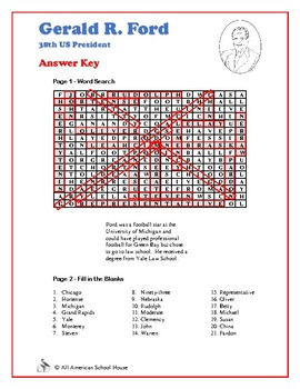 Gerald Ford - Word Search and Fill in the Blanks