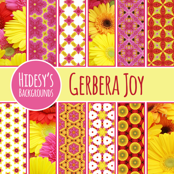 Gerbera Theme Backgrounds / Digital Papers Clip Art Commercial Use