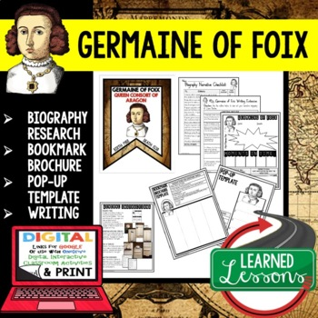 Germaine of Foix Biography Research, Bookmark Brochure, Pop-Up, Writing
