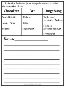 German-  10 Creative Writing Templates- 10 kreative Schreibideen