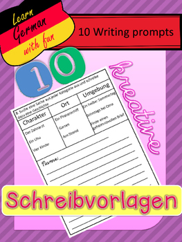 German-  10 Creative Writing Templates- 10 kreative Schreibideen