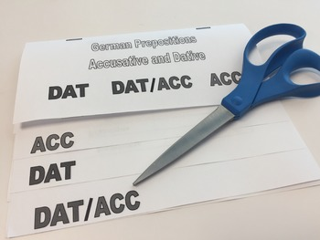 German Accusative, Dative, and Two-Way Prepositions Foldable