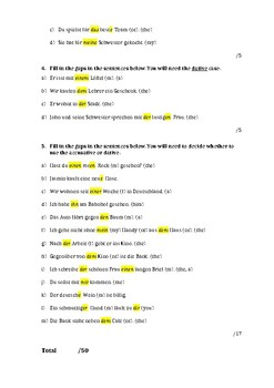 German Accusative and Dative Cases Test (Answer Sheet)