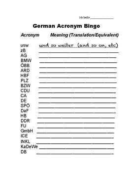 German Acronym Bingo
