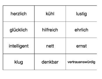 German Level 1 - Adjective Cards - Describing People