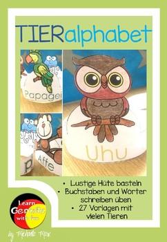 German Alphabet Hats- Deutsche Alphabet lernen- Tierhüte basteln-Tieralphabet