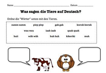 German Animal Sounds Onomatopoeia Worksheet