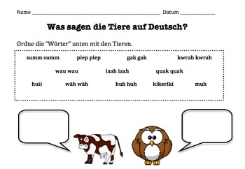 German Animal Sounds Onomatopoeia Worksheet