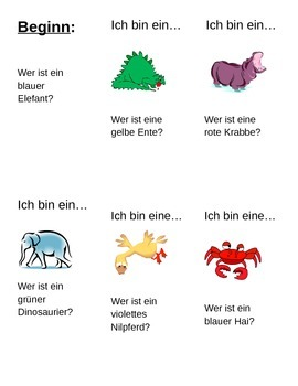 German Animal and Color class speaking activity (with adjective ending practice)