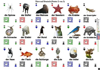 German Animals (54 animals with spelling and audio)