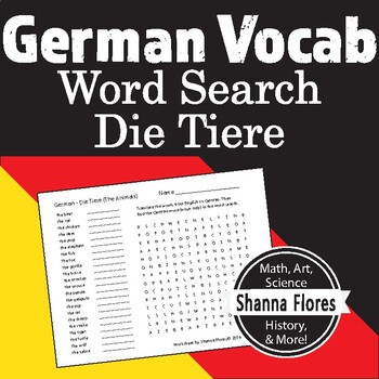 German Animals - Die Tiere Word Search; Translate into German; Vocabulary