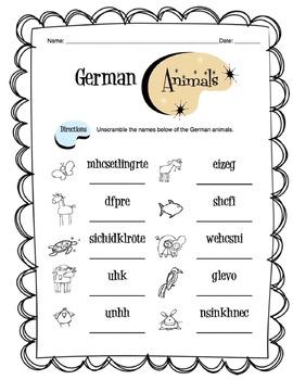 German Animals Worksheet Packet