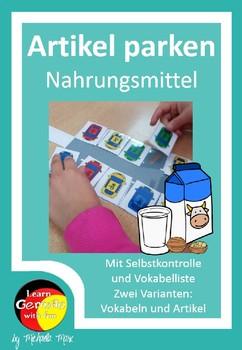 German - Artikel und Wortschatz üben Thema Nahrungsmittel
