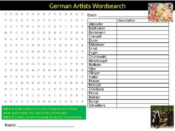 German Artists Wordsearch Sheet Cartoon Starter Activity Keywords Art