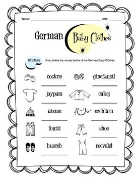 German Baby Clothes Worksheet Packet