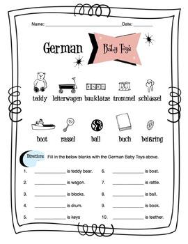 German Baby Toys Worksheet Packet