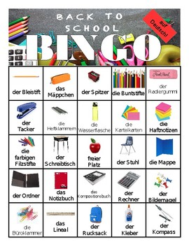 German Back to School Bingo