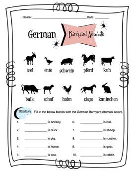 German Barnyard Animals Worksheet Packet