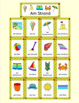 German Summer Beach Vacation - Am Strand - activities, puzzles, bingo