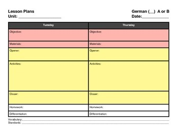 German Block Schedule Lesson Plan