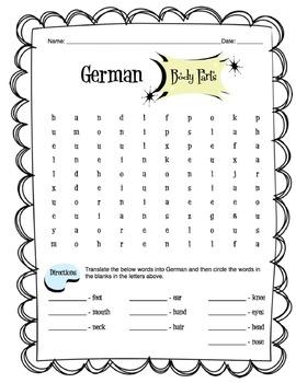 German Body Parts Worksheet Packet