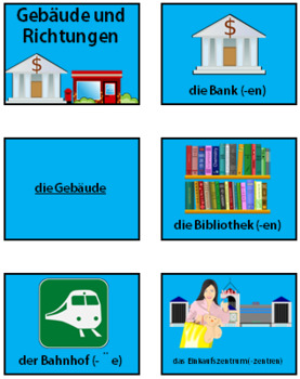 German Buildings and Directions- PowerPoint, Worksheet + Flashcards