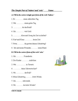 german past tense verbs list pdf
