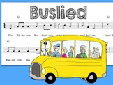 German Bus Song with Coloring Page